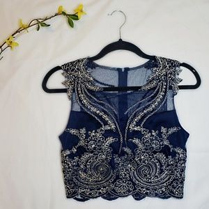 ☆ Navy Blue Formal Dress Top ☆